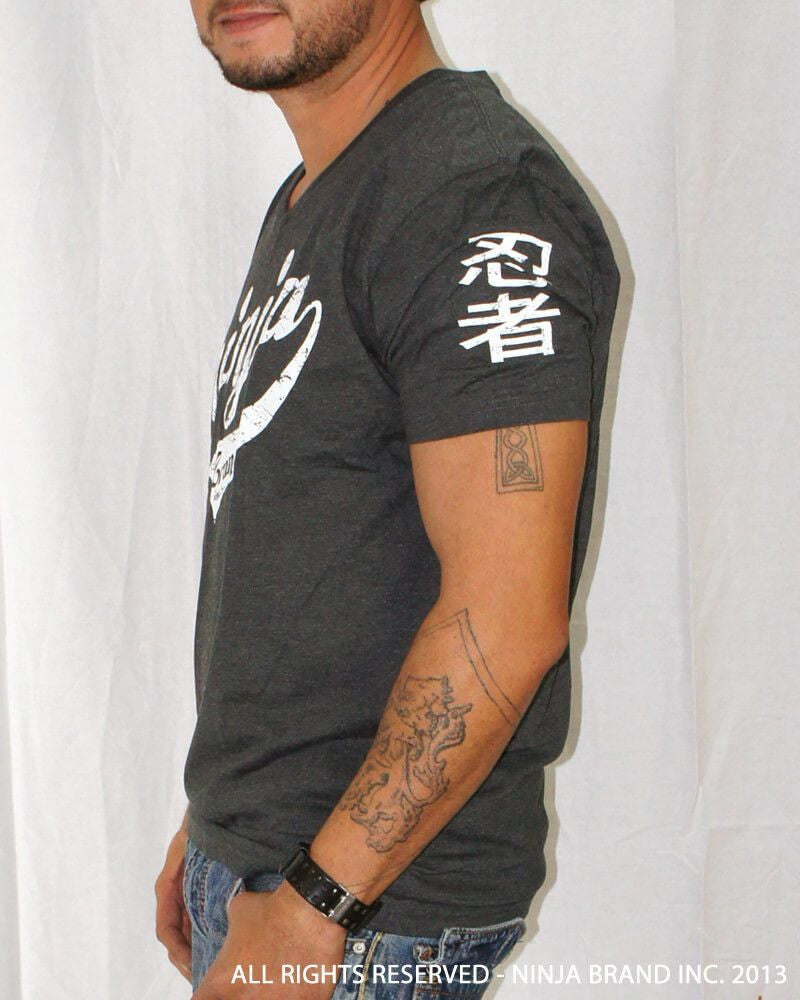 Men's Ninja Brand Inc Vintage V-Neck T-Shirt - Charcoal Grey - Side View