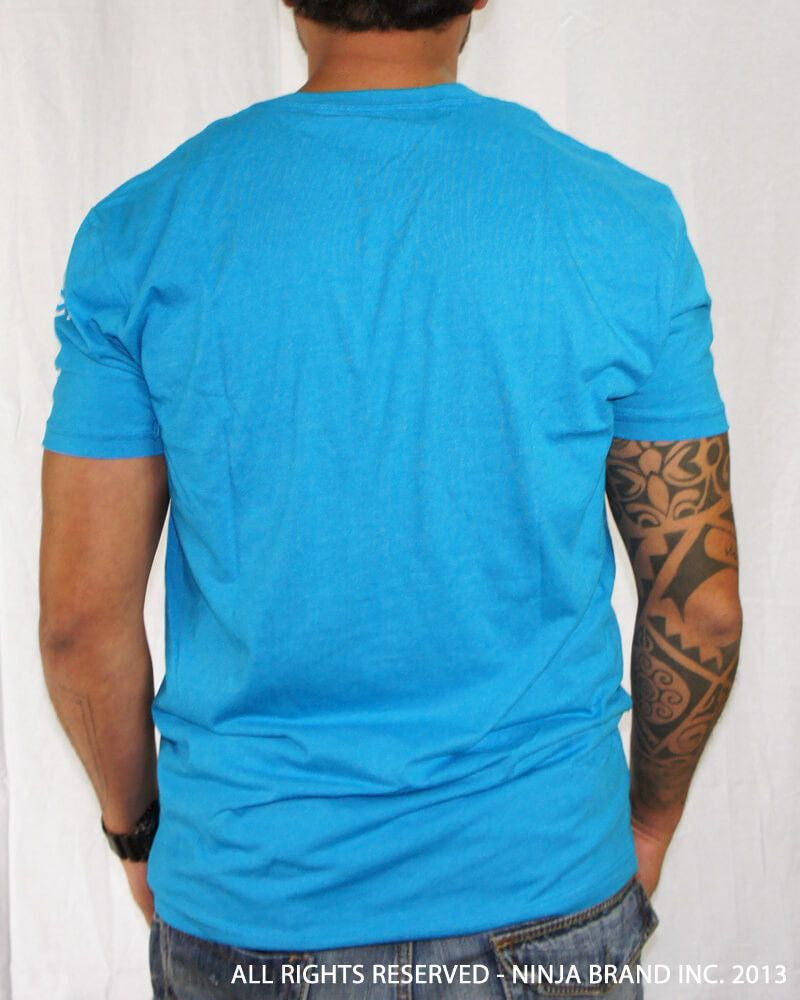 Men's Ninja Brand Inc Vintage V-Neck T-Shirt - Light Blue - Back View