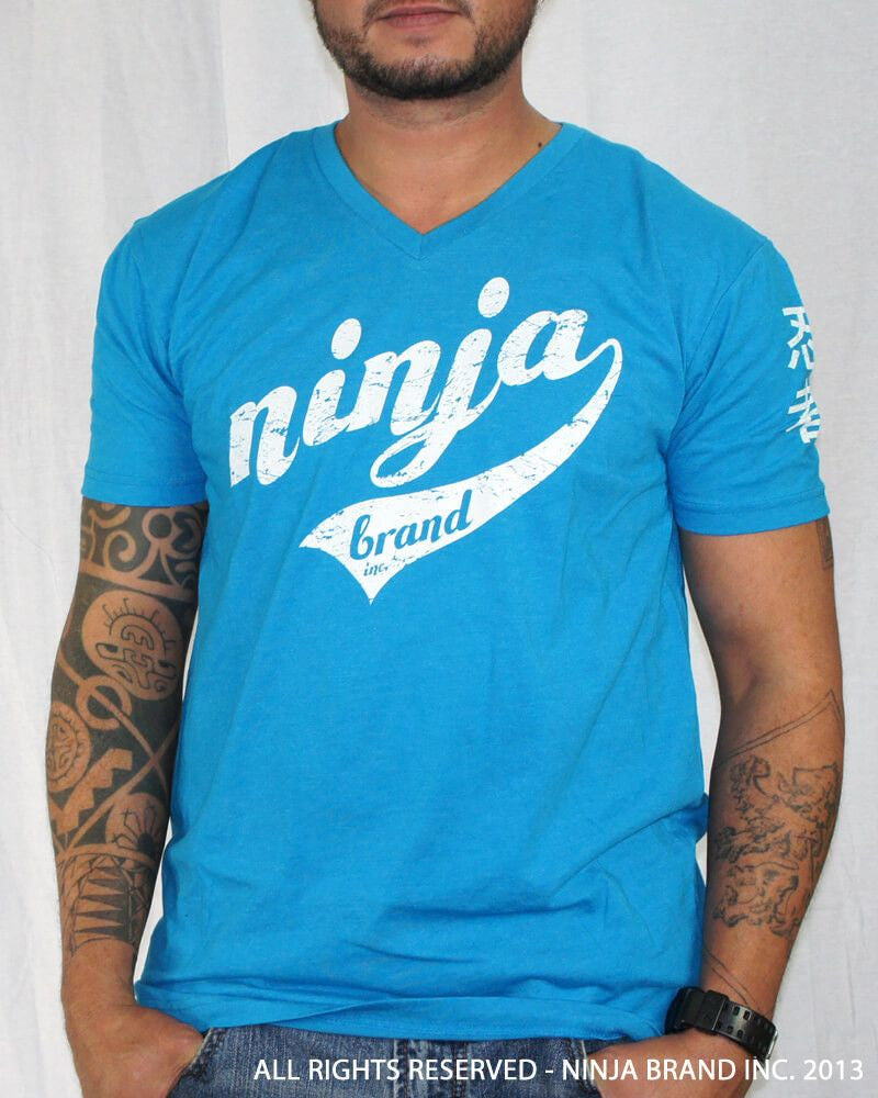 Men's Ninja Brand Inc Vintage V-Neck T-Shirt - Light Blue - Front View