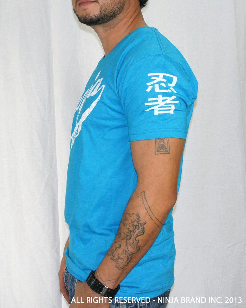 Men's Ninja Brand Inc Vintage V-Neck T-Shirt - Light Blue - Side View