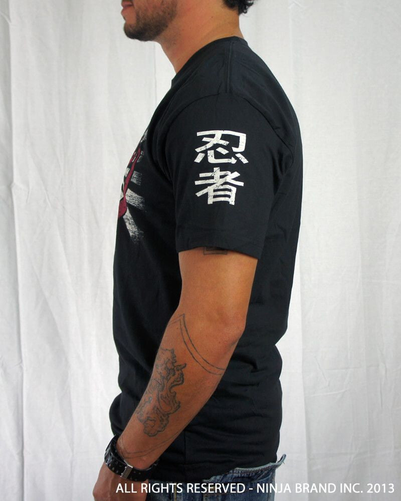 "Men's Ninja Brand Inc ""Ninja Rising"" T-Shirt - Black shirt with white rays - Side View"
