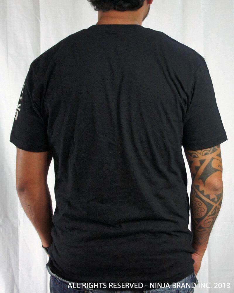 "Men's Ninja Brand Inc ""Ninja Rising"" T-Shirt - Black shirt with white rays - Back View"