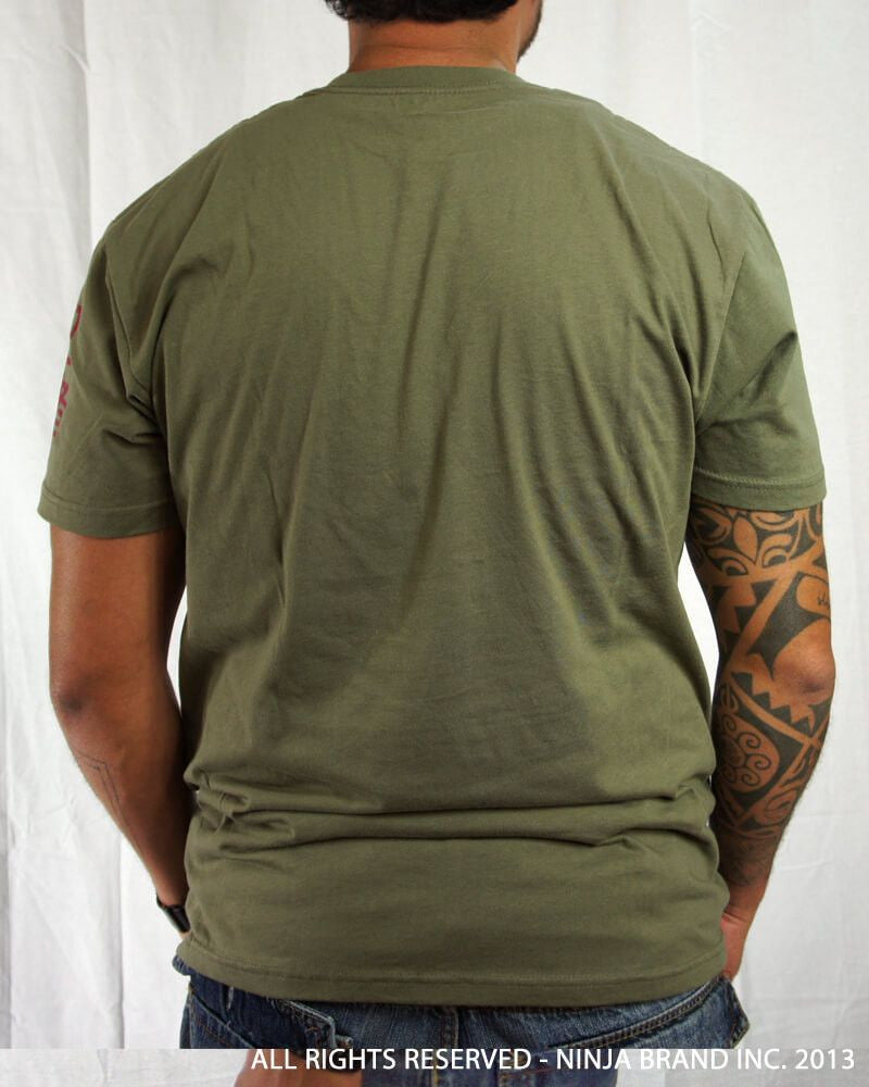 "Men's Ninja Brand Inc ""Ninja Rising"" T-Shirt - Olive Drab Green shirt with Black rays - Back View"