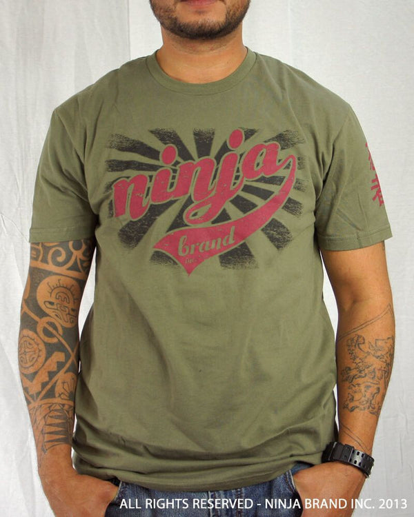 "Men's Ninja Brand Inc ""Ninja Rising"" T-Shirt - Olive Drab Green shirt with Black rays - Front View"