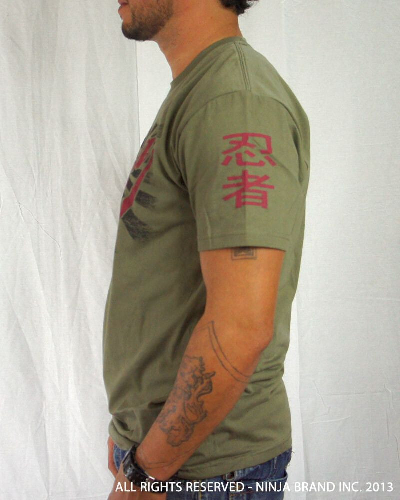 "Men's Ninja Brand Inc ""Ninja Rising"" T-Shirt - Olive Drab Green shirt with Black rays - Side View"