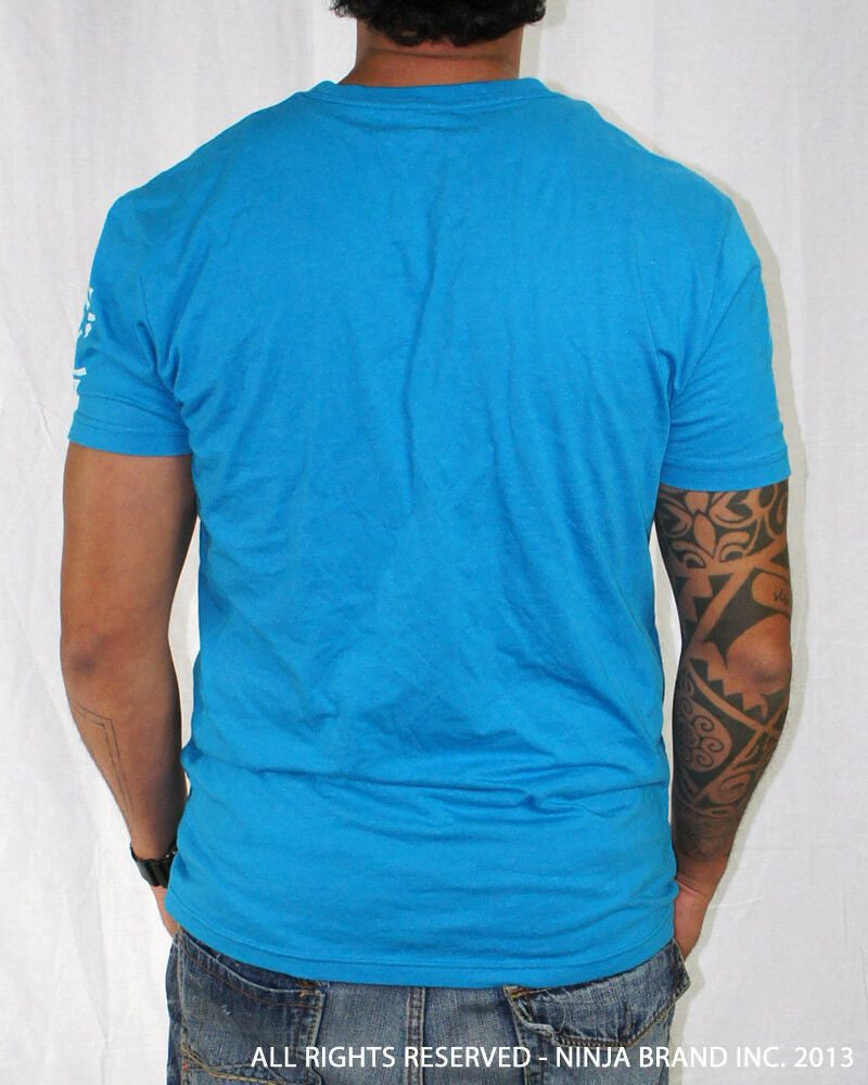 "Men's Ninja Brand Inc ""Ninja Rising"" V-Neck T-Shirt Light Blue with White Rays - Back View"