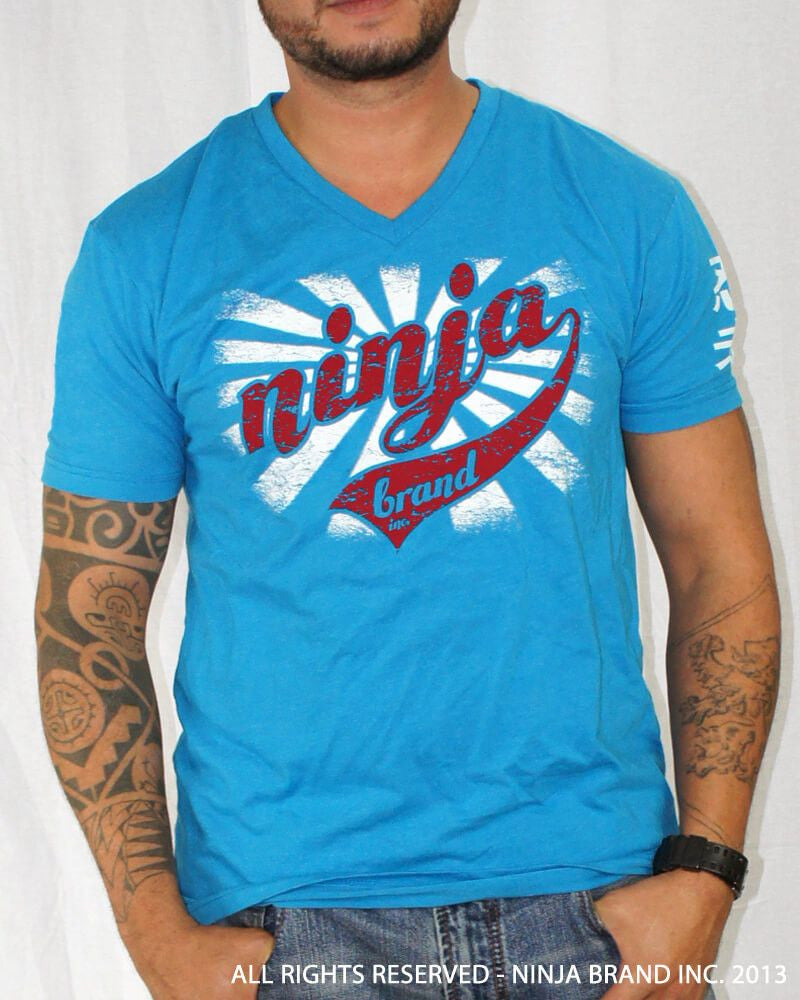 "Men's Ninja Brand Inc ""Ninja Rising"" V-Neck T-Shirt Light Blue with White Rays - Front View"