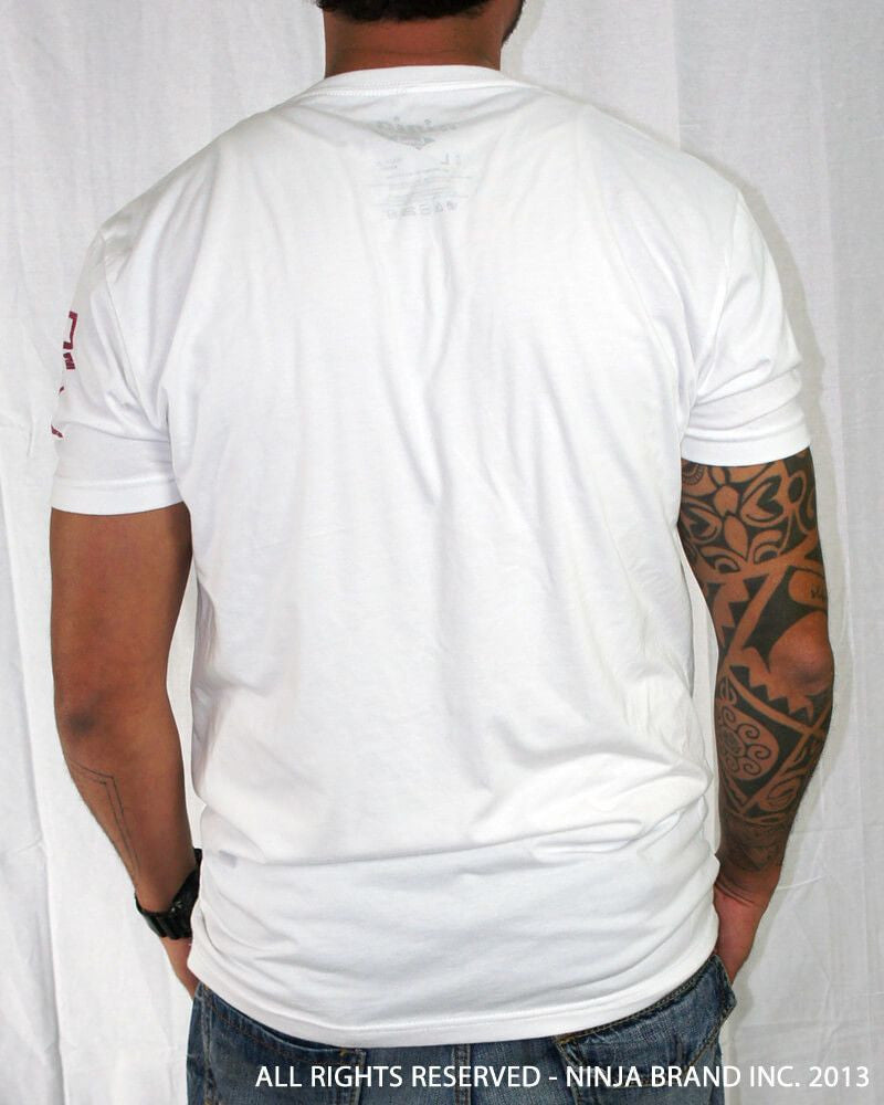 "Men's Ninja Brand Inc ""Ninja Rising"" V-Neck T-Shirt White with Black Rays - Back View"