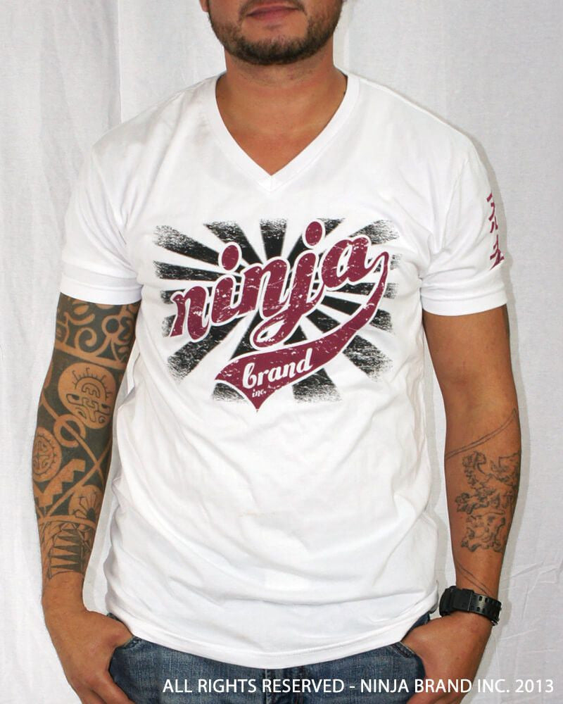 "Men's Ninja Brand Inc ""Ninja Rising"" V-Neck T-Shirt White with Black Rays - Front View"