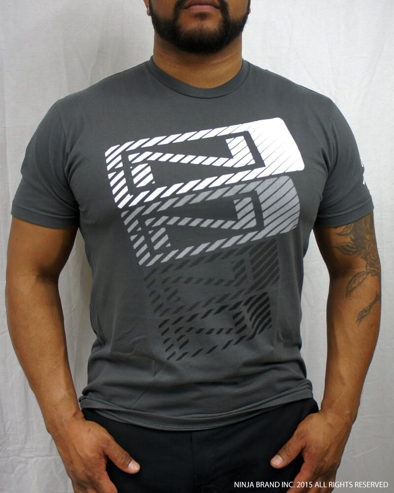 Men's N-Stack NINJA PLEASE T-Shirt - Heavy Metal Gray - Front View