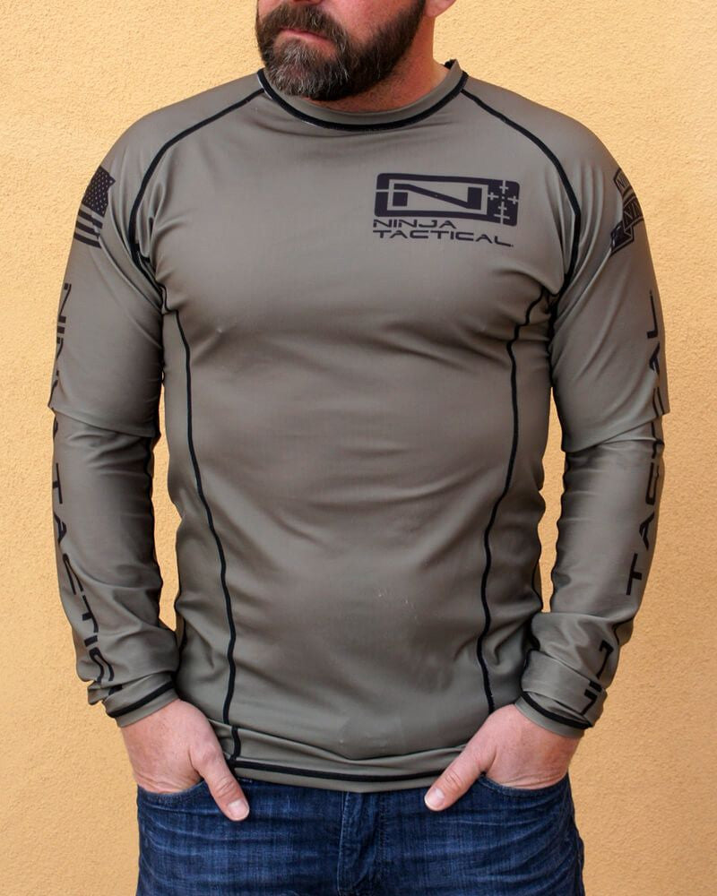 Ninja Brand Inc Ninja Tactical N-Tac Rashguard in Olive Drab Green - Front View