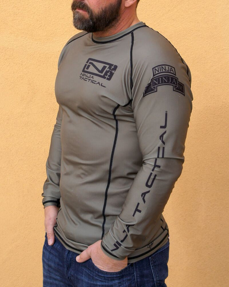 Ninja Brand Inc Ninja Tactical N-Tac Rashguard in Olive Drab Green - Left Side View