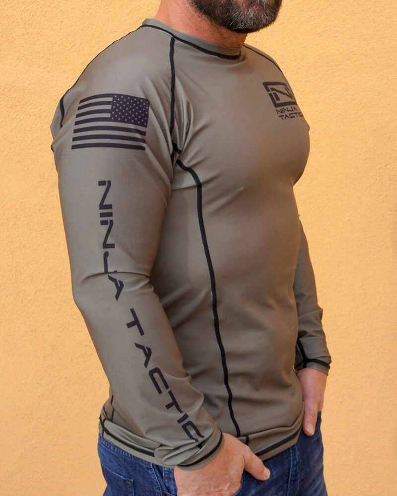 Ninja Brand Inc Ninja Tactical N-Tac Rashguard in Olive Drab Green - Right Side View