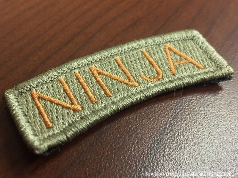 Ninja Tab Patch - Mission Flown - ODG - Velcro backing - Side View