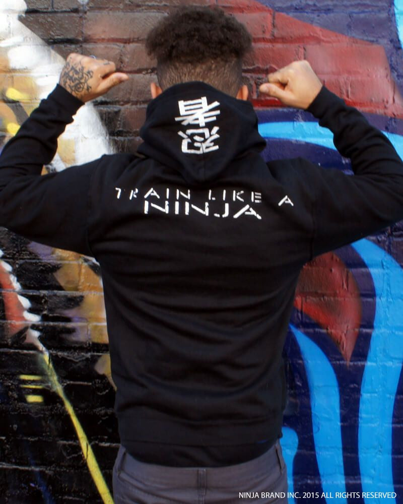 Ninja Muscle Plate Hoodie - Black - Street View Back