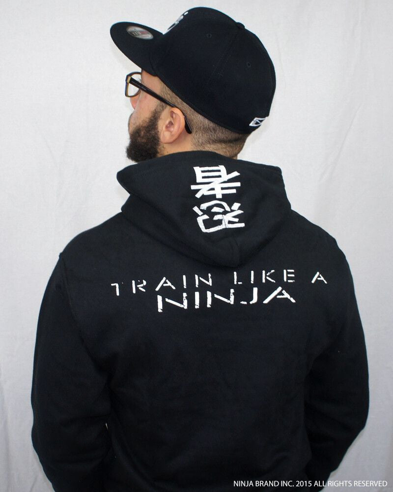 Ninja Muscle Plate Hoodie - Black - Back View Male