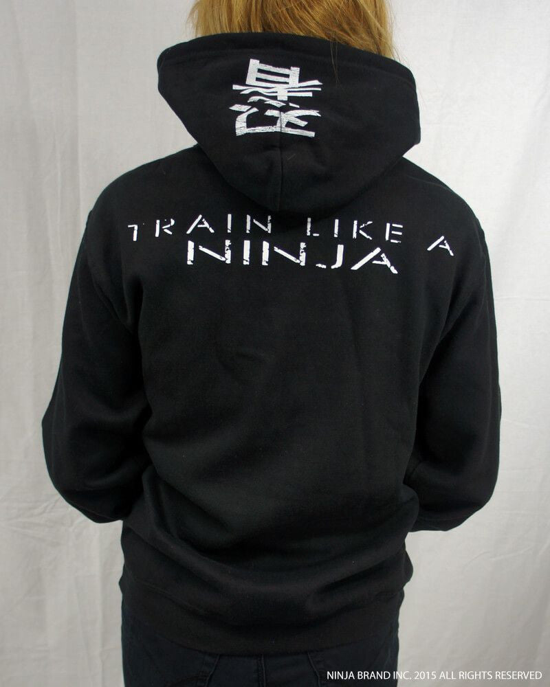 Ninja Muscle Plate Hoodie - Black - Back View Female