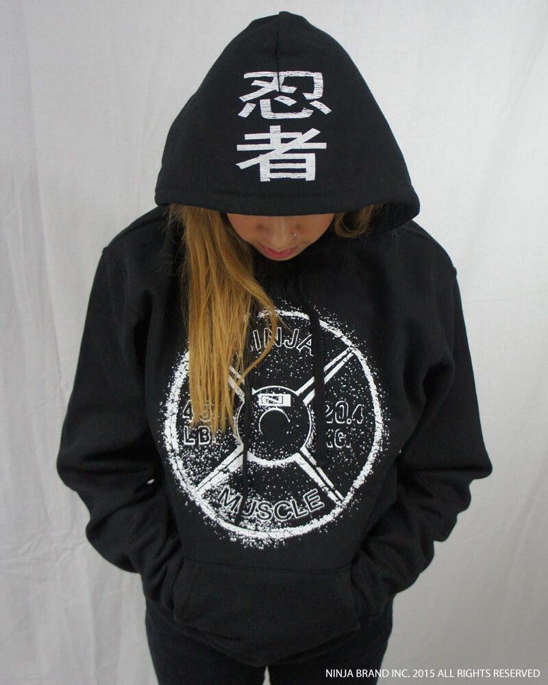 Ninja Muscle Plate Hoodie - Black - Front Hood View Female