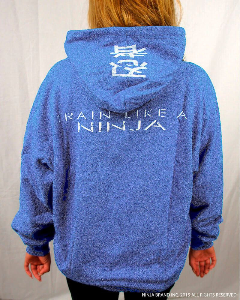 Ninja Muscle Plate Hoodie - Heather Blue - Back View Female