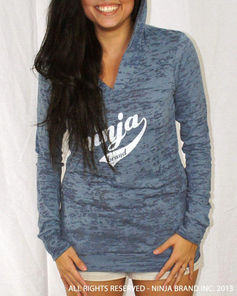 Women's NBI Logo Burnout Hoodie - Slate Blue Burnout with White - Front View