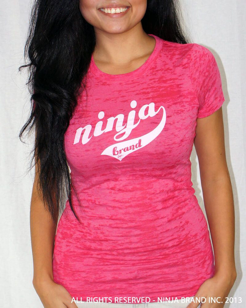 Women's NBI Logo Burnout T-Shirt - Hot Pink - White - Front View