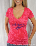 Women's NBI Logo Burnout Deep V-Neck T-Shirt - Hot Pink-Purple - Front View