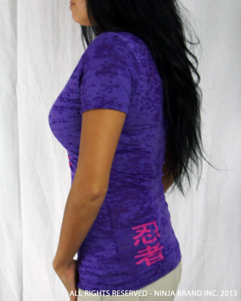 Women's NBI Logo Burnout Deep V-Neck T-Shirt - Purple-Magenta - Side View