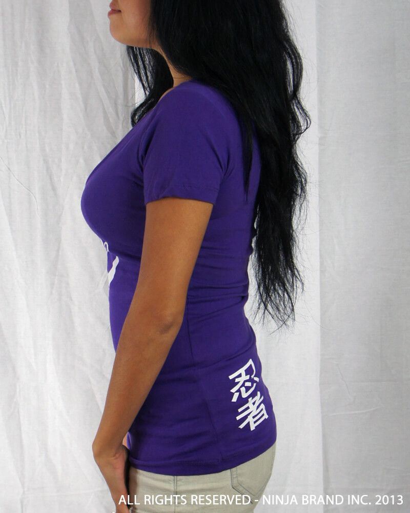 Women's Ninja Brand Inc Deep V-Neck Fitted T-Shirt - Purple - Front View