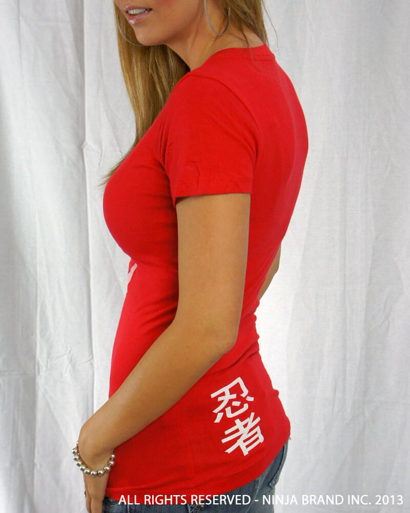 Women's Ninja Brand Inc Deep V-Neck Fitted T-Shirt - Red - Front View