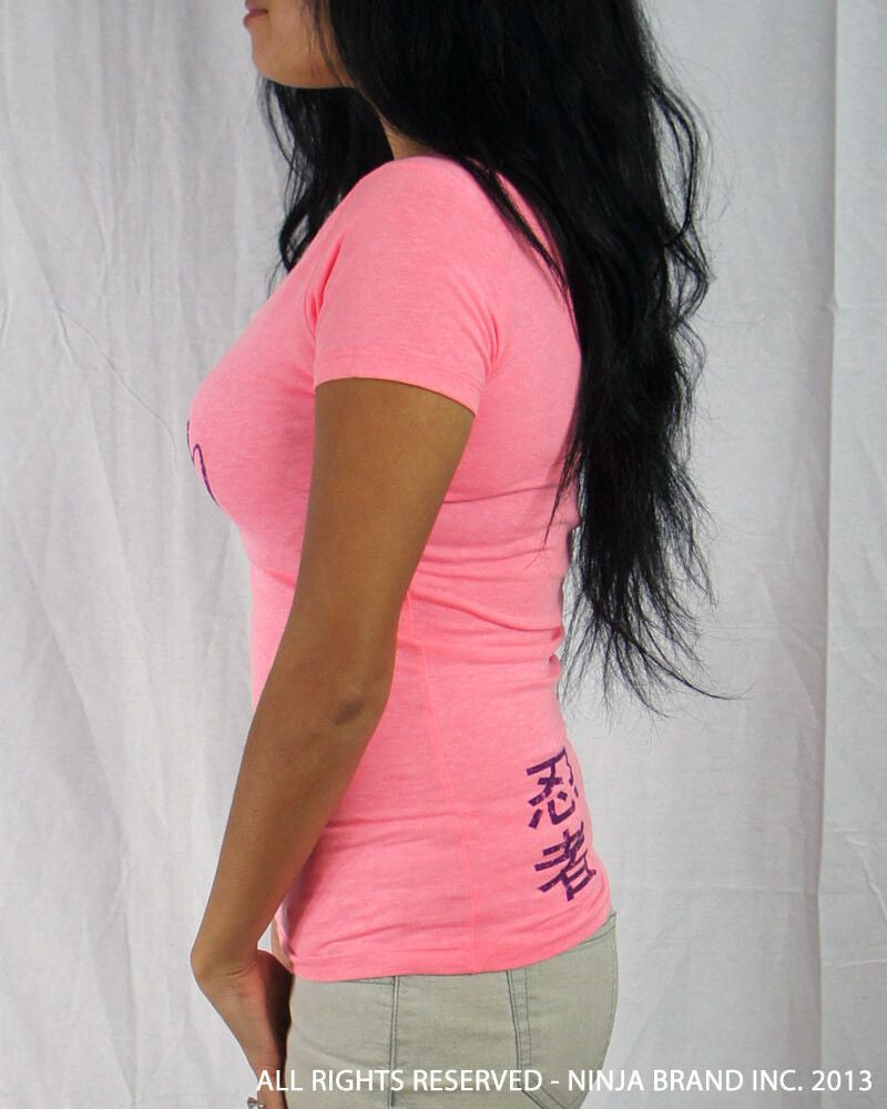 Women's Vintage NBI Sporty V-Neck - Neon Pink with Purple - Side View