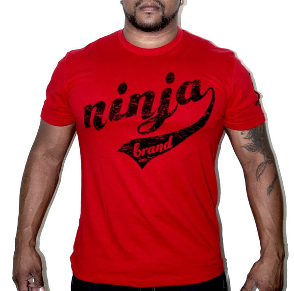 "Men's Vintage Ninja Brand Inc Fitted T-Shirt ""Train Like a Ninja"" - Red - Front View"
