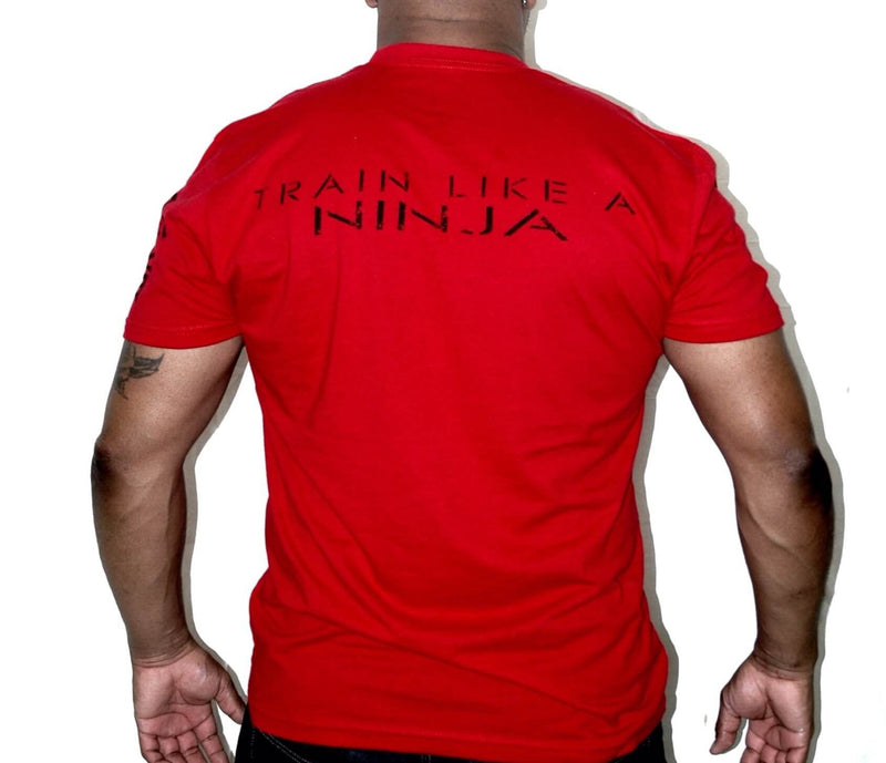 "Men's Vintage Ninja Brand Inc Fitted T-Shirt ""Train Like a Ninja"" - Red - Back View"