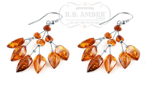 Cognac Baltic Amber Leaf Drop Earrings - R.B. Amber & Sons