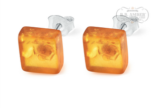 Baltic Amber Square Stud Earrings - R.B. Amber & Sons