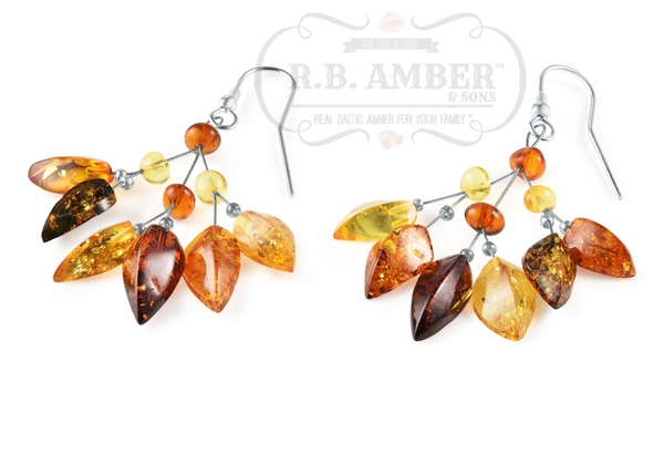 Multi Baltic Amber Leaf Drop Earrings - R.B. Amber & Sons