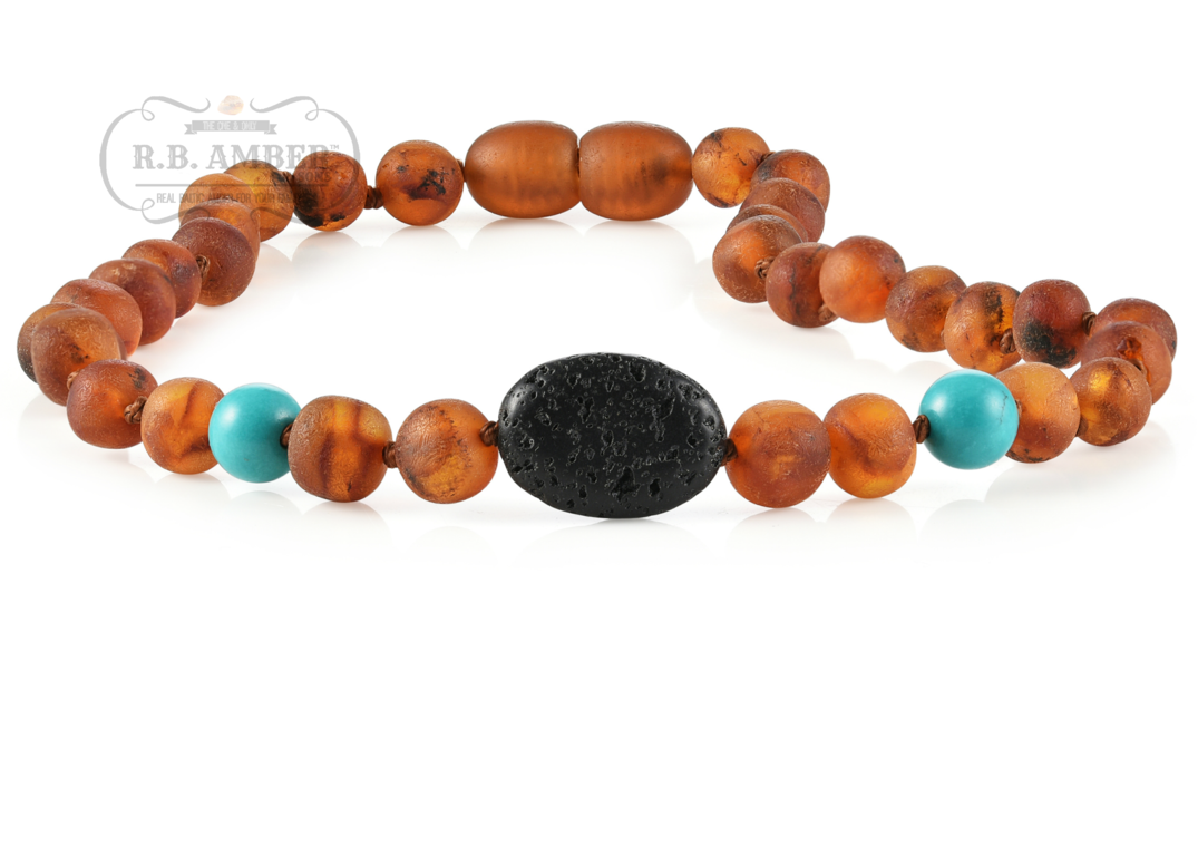 Aquamarine//Howlite Alternative Pain Relief Baltic Amber Necklace for BIG Kids Immune System Boost 15 inch
