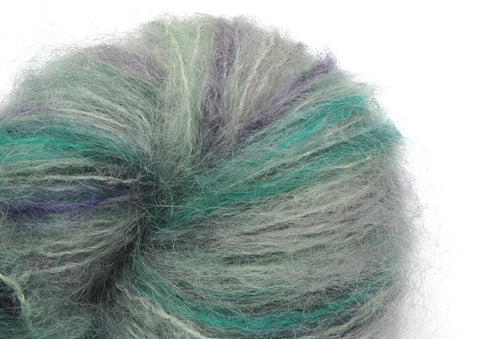 Hand-painted mohair yarn in Atoll