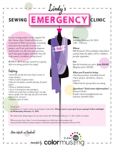 Lindy's Sewing Emergency! Clinic plus Tango Skirt Sew-Along, for February 2016