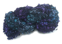 Load image into Gallery viewer, Hand-painted novelty flag-style yarn in Amethyst Overboard (deep purples/blues/teals)