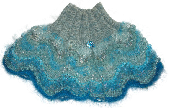 Scraplet Skeins Hand-knitted Capelet Sample in Aquamarine, wool trim (aqua/teal/turquoise/smoky aqua)