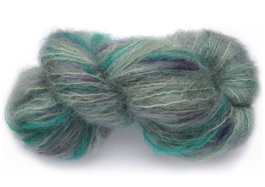 Hand-painted, luxury thick mohair-wool yarn in Atoll (aqua/turquoise/plum)