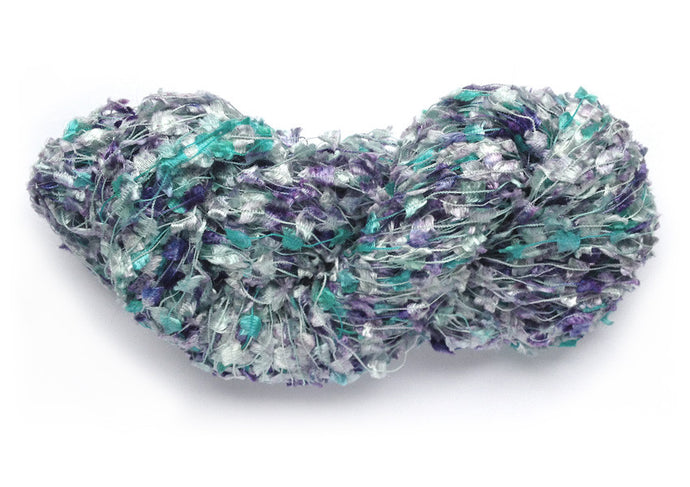 Hand-painted, shiny novelty flag-style yarn in Atoll (aqua/turquoise/plum)