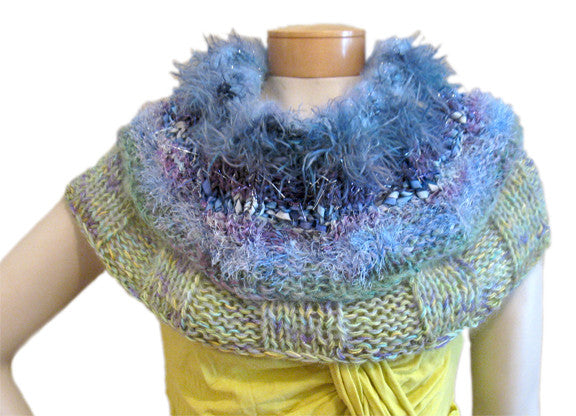 Reversible Capelet Hand-knitted Sample in Blue Moon