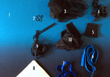 Load image into Gallery viewer, DIY foam-lined bra sewing KIT, blue/black ombré, FREE wash bag included!