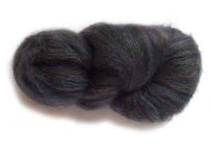 Hand-painted luxury laceweight mohair yarn in Black Opal (deep grey/black/teal/sapphire/wine)