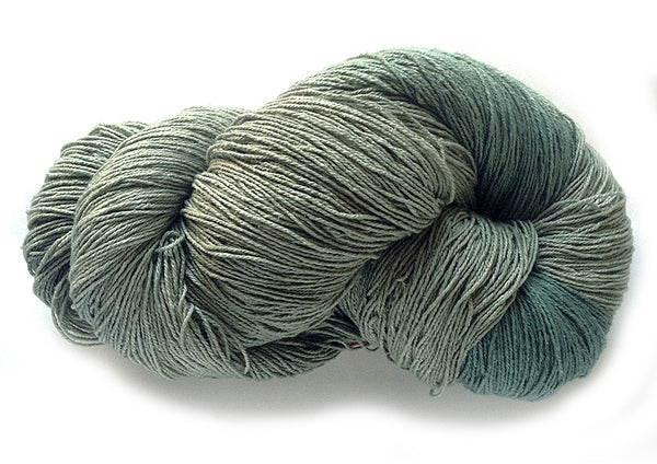 Hand-painted, luxury 100% silk noil fingering-weight yarn in Blue Sage