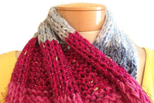 Load image into Gallery viewer, Scraplet Skeins Keyhole Scarf Hand-knitted Sample in Carmel Blue Fuchsia