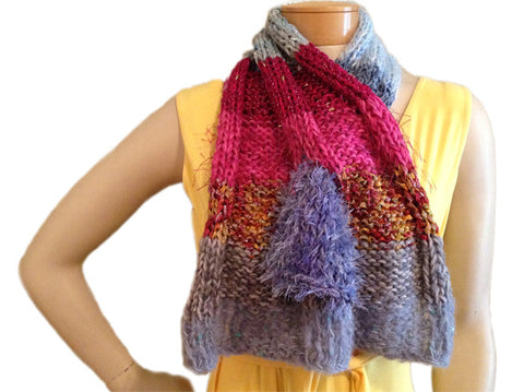 Scraplet Skeins Keyhole Scarf Hand-knitted Sample in Carmel Blue Fuchsia