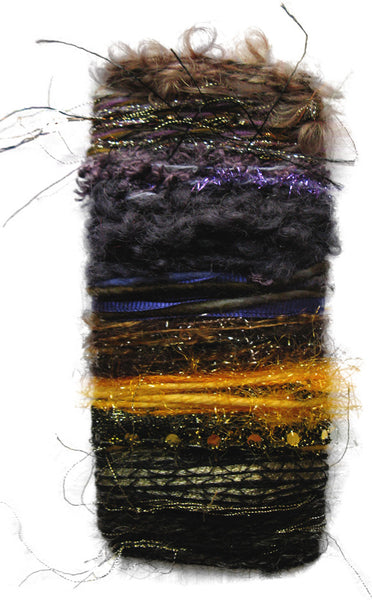 Scraplet Skeins Chevron Turtleneck Capelet Hand-knitted Sample in Zap! (browns/deep purple/gold)