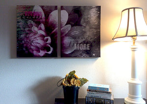 "Color Black White original photo montage set, printed on 2 20"" x 16"" gallery-wrapped canvases, ready to hang"